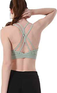 Strappy Yoga Bra for Women, Sexy Cross Back Hollow Out Active Sports Bra,Green,XL