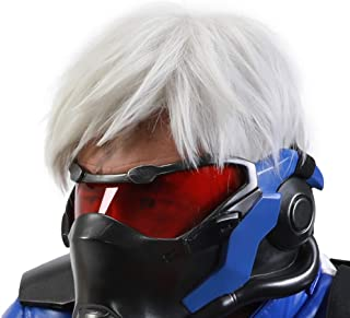 Halloween Costume OW Soldier 76 Wig Cosplay White Short Layered Hair Free Wig Cap Adults Men/Teens