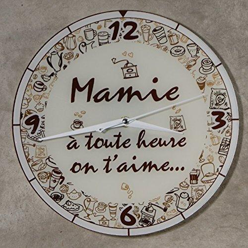 HbMy - Horloge Je t'aime Mamie – Cadeau original pour Papi et Mamy – Fête des Grands mères, Anniversaire, Noël.)