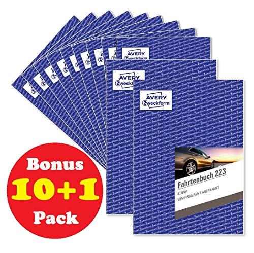 Avery Zweckform 223 Fahrtenbuch für PKW (A5, 40 Blatt) weiß, 11er Bonus Pack