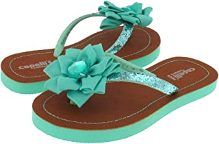 Glitter Jelly Thong with Flower and gem Trim Girls Flop Flops