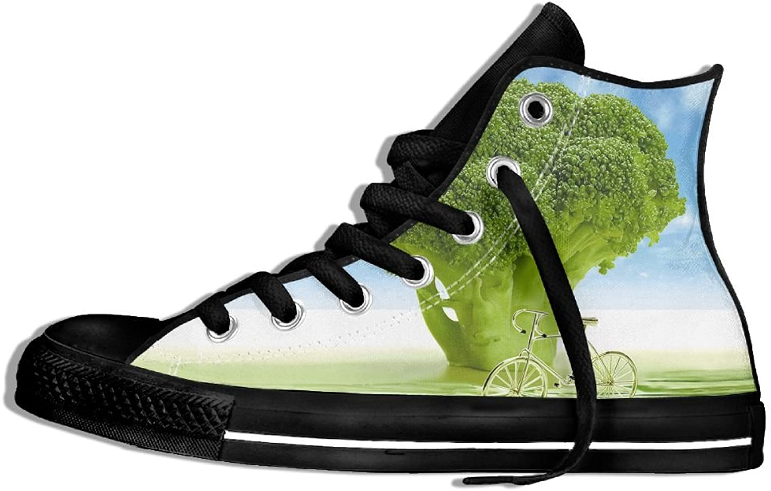 Womens Broccoli Tree With Bike High Top Sneakers shoes Round Toe Non-slip Canvas Casual Trainers shoes