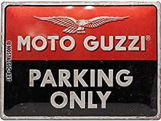 Nostalgic-ArtMoto Guzzi - Parking Only - Gift idea for motorcycle fansRetro Tin SignMetal PlaqueVintage design for decora...
