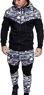 Men Camouflage Tracksuit Sport Suit Full Zipper Hoodie Fall Sweatshirt Pants Set