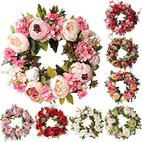 FOReverweihuajz Kunstbloemen 40 cm bloem Kerstmis drempel slinger huwelijk huis deur hangdecoratie Lila