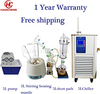 Stocks Available 5L Short Path Distillation Ket,Stirring Heating Mantle,Chiller,Vacuum Pump