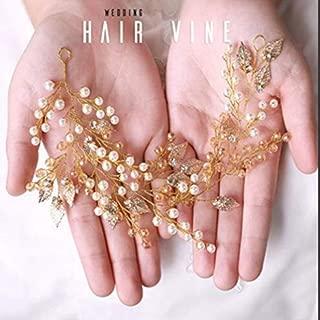 Asooll Bride Wedding Leaf Hair Vine Gold Crystal Pearl Head Piece Bridal Headband Accessories for Women and Girls