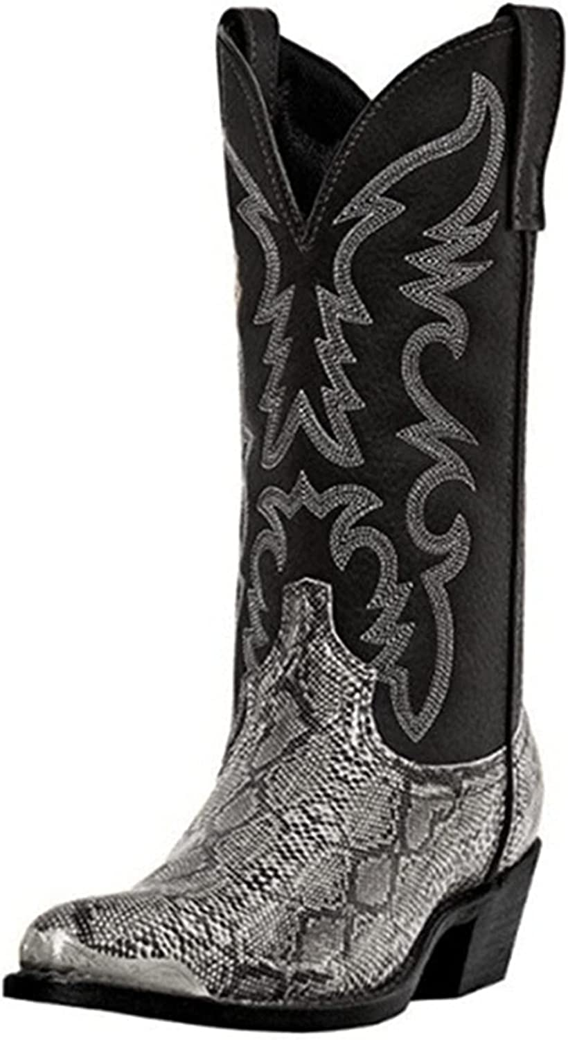 GNiwerb Vintage Knee High Floral Western Cowboy Chunky Mid Heel Boots Cowgirls Riding Knight Pointed Toe Women's Calf Boot