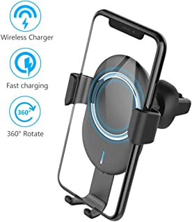 Wireless Gravity Car Charger, 10W Fast Charger Car Mount Phone Holder, Auto Grip Vent & Bracket 2 in 1 for iPhone X/8/8 Plus, Samsung Galaxy S9/S9+/Note 8/S8/S8 Plus/S7/S6 Edge