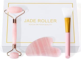 3-in-1 Jade Roller Gua Sha and Face Mask Brush Set, Face Roller, Facial Beauty Roller Skin Care Tools, 100% Natural Rose Q...