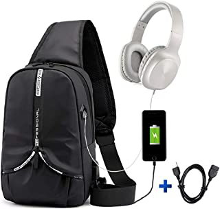 Mens Sling Bag Backpack Waterproof Shoulder Bag USB Port Crossbody Bag (Black)