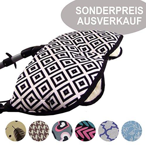 BAMBINIWERLT SPECIALE AANBIEDING universele muff/handwarmer voor kinderwagen, buggy, jogger met wol UITVERKOOP zwart, wit, geruit