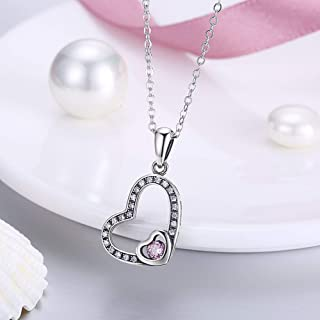 Home S925 Sterling Silver Necklace Female Europe America Retro Heart-Shaped Diamond Pendant Necklace Clavicle Chain (Color : White) Girls Necklace (Color : Pink)