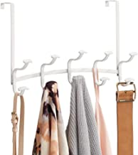 mDesign Decorative Metal Over Door 10 Hook Storage Organizer Rack - for Coats, Hoodies, Hats, Scarves, Purses, Leashes, Bath Towels, Robes, Men's and Women's Clothing - Matte White