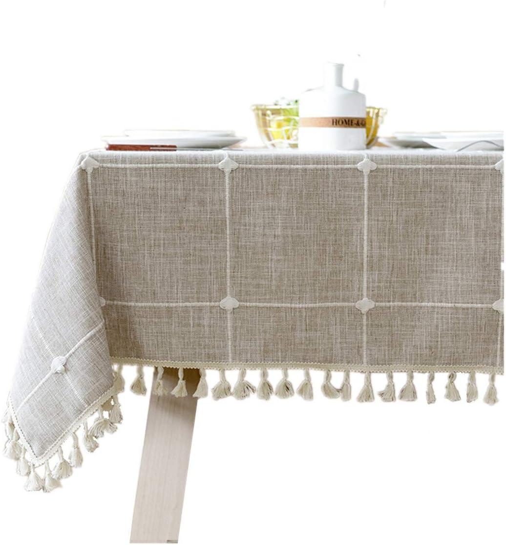Mantel rectangular de lino de algodón con borla, mantel de tela escocesa para comedor, cocina, decoración de mesa, 91 x 132 cm