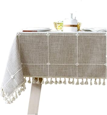 "Bettery Home Cotton Linen Rectangular Tablecloth Tassel Plaid Table Cloth for Dining Kitchen Room Tabletop Decoration, 36"" x 52"""