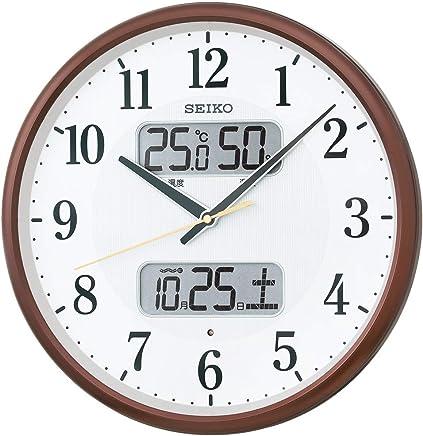 セイコークロック 掛け時計 01:茶メタリック 01:直径35cm 電波 アナログ カレンダー温度 湿度 表示 BC405B