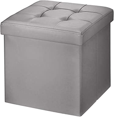 BRIAN & DANY Faux Leather Folding Storage Ottoman Bench Seat Foot Rest Stool Coffee Table (15''X15''X15'' Gray)