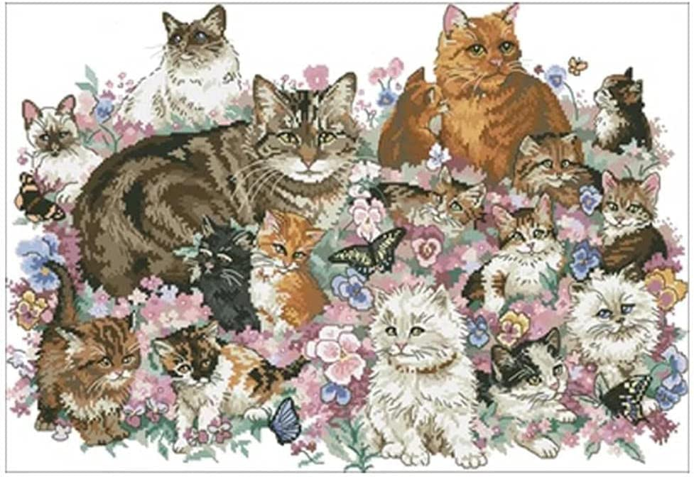 Cat in Flowers safety Patterns Counted Cross Set DIY Chinese Indianapolis Mall Cro Stitch