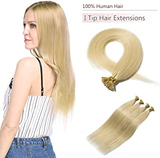 100 Strands/Pack I Tip Remy Human Hair Extensions Pre Bonded Keratin Stick In Hair Extensions Cold Fusion Hair Piece For Women Long Straight #613 Bleach Blonde 20'' 50g