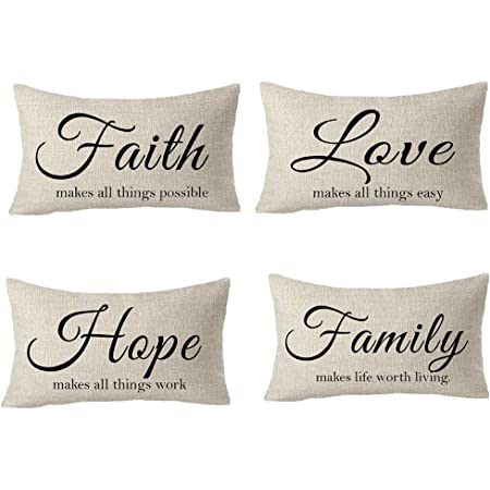 Amazon Com Feleniw Set Of 4 Faith Love Hope Family Living Learning Working Encourage Cotton Linen Decorative Throw Pillow Cover Cushion Case Lumbar 12x20 Inches Home Kitchen