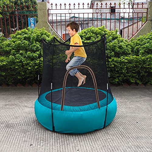 """Inflatable Trampoline for Kids, 46"""" Mini Trampoline with Enclosure Net and Elastic Pad, Folding and Storage-Easy to Fold Round Trampoline with Built-in Zipper for Indoor Outdoor (Blue)"""