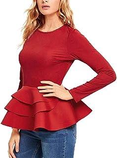 GAGA Women's Vintage Layered-Ruffle-Hem Slim Fit O-Neck Peplum Blouse T-Shirts