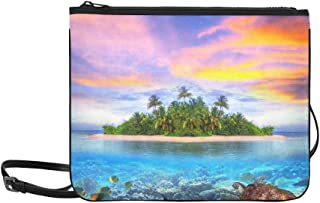 Tropical Island Seaturtle Fish Palm Tree Pattern Custom High-grade Nylon Slim Clutch Bag Cross-body Bag Shoulder Bag