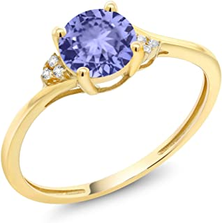 Gem Stone King 10K Yellow Gold Diamond Accent Engagement Ring Set with 6mm 0.95 Ct Round Blue Tanzanite