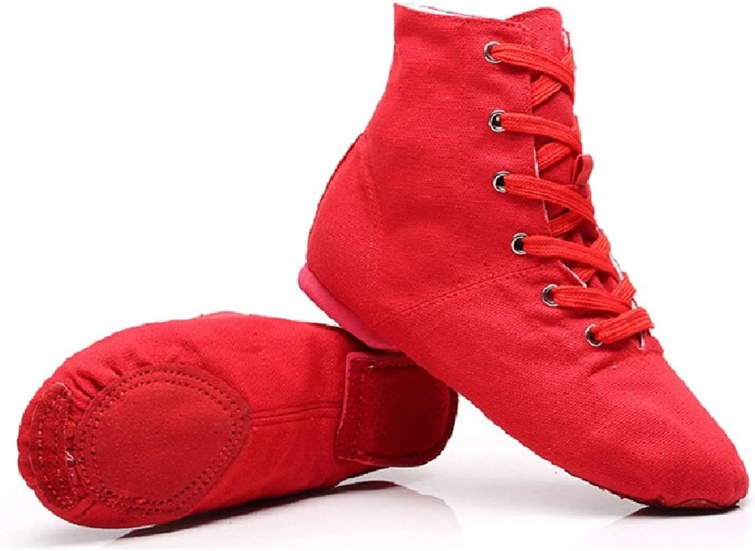 NLeahershoe Unisex Canvas Dance shoes Lace-up Jazz High Boots for Practice, Red