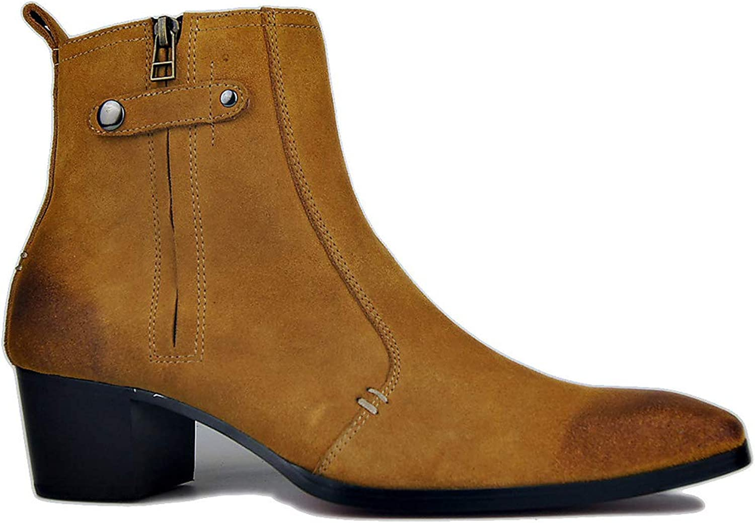 Men's Ankle Boots, Leather Tube Cowboy Boots, Adult Personality red Boots