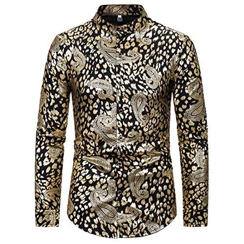 Hemd Herren Langarm Slim Fit Office Shirt Businesshemd Herren Gothic Retro Style Hemd Boutique Atmungsaktive Frühling Und Herbst Herren Hemd C-Golden XXL