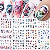 Halloween Nail Art Decals for Nail Designs 12 Sheets Water Transfer Nail Sticker Decal for Acrylic Nails Manicure Sliders Horror Sugar Skull Flowers Death Nail Art Supplies Nail Decoration Women Kids