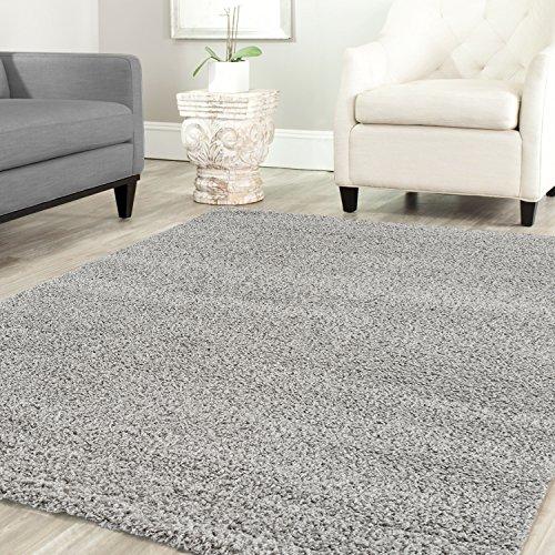 Shaggy Teppich Farbe Hochflor Langflor Teppiche Modern für Uni Farben, Farbe:Grau, Maße:120x170 cm