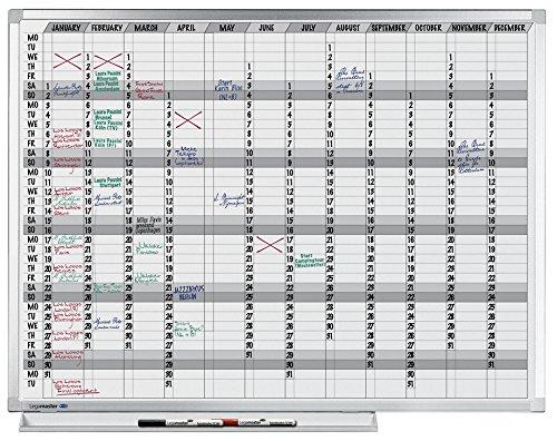 Legamaster 7-400000 Professional Jahresplaner 365, emailliertes, leichtes Whiteboard bedruckt mit Kalenderraster, 120 x 90 cm