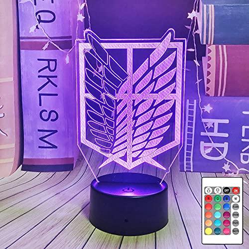Levi Ackerman Night Light Attack On Titan 3D Luci notturne a LED per bambini Lampada da tavolo 16 colori Telecomando Touch Decorazione camera da letto Lampada da notte per bambini Regalo di Natale