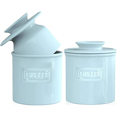 AVLA 2 Pack Ceramic Butter Crock, French Butter Dish with Water Line, Butter Keeper Butter Container for Countertop, Big Capacity, Aqua Blue