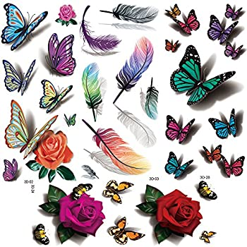 Flowers Temporary Tattoos for women sexy 8 Pcs by Yesallwas,LargeTattoo Sticker Fake Tattoos for kids girls teens,waterproof and Long Lasting sexy body tattoos -Rose butterfly,feather