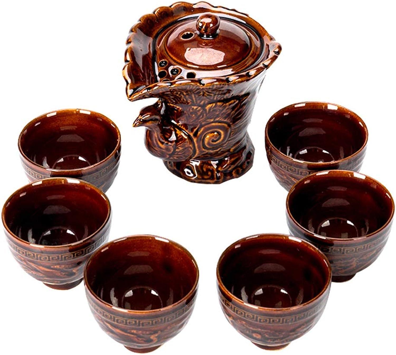 Kung Fu thé Ensemble thé Ensemble Paon Tasse Set de céramique Kung Fu thé Ensemble Filtre Coupe Cadeau (Couleur   marron)