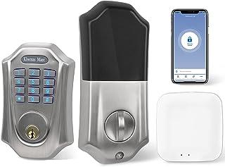 [2021] قفل Wi-Fi صفحه کلید هوشمند با پل ، کنترل از راه دور سریع هوشمند ، برنامه Tuya ، هشدار امنیتی ، قفل خودکار بدون کلید ، با الکسا ، درب جلو خانگی ، قفل درب ورودی بدون کلید ، قفل هوشمند Klwenas Maec