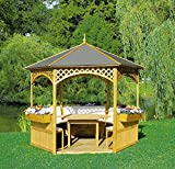 Beauty.Scouts Outdoor Dino Collection Pavillon Marion II, Holz/Dachpappe, 278x278cm, mit Möbeln, Gartenpavillon, Pavillonset, Garten, Gartenmöbel, Gartenausstattung, Holzpavillon