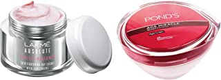 Lakmé Perfect Radiance Fairness Day Creme 50 g & Pond's Age Miracle Wrinkle Corrector Night Cream, 50g