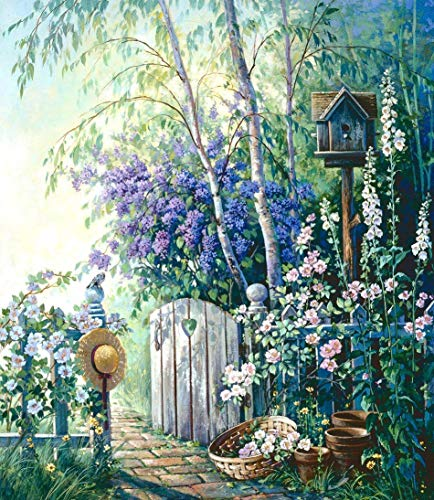 Garden Gate DIY 5D Diamond Painting Kits Full Drill Wall Hanging Diamond Arts Craft Set for Christmas Home Wall (Square 40x40cm)