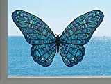 Patterned Butterfly - See-Through Vinyl Window Decal - Yadda-Yadda Design Co. (Size and Color Choices) (Med, 6.5'w x 4'h, Blue)