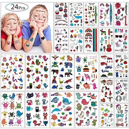 Tatuaggi Temporanei per Bambini Feste - MOOKLIN 24 fogli impermeabile tatuaggio temporaneo bambini festa di compleanno sacchetti regalo Giocattolo fin