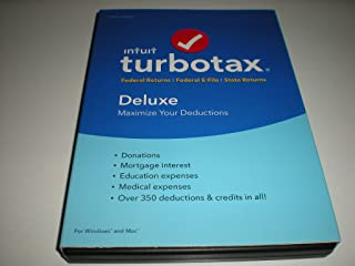 Turbotax Deluxe 2016 Federal Only, No State, Old Version, Fed Efile PC/MAC Disc