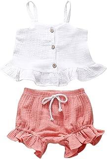 Weixinbuy Kids Baby Girls Strap Sleeveless Tops T-Shirt + Bloomer Shorts 2Pcs Summer Clothes Set