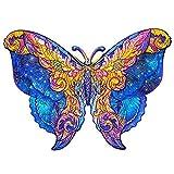 Puzzles de madera, 199 piezas de puzle 3D de mariposa, Myesterioso, piezas de puzle de forma única, puzle animal, regalo para niños, adultos, familia, ocio, decoración, hogar (mariposa, 21 x 29,7 cm)