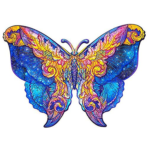 Holzpuzzles 118 Teile 3D-Puzzles Geheimnisvoller Schmetterling Einzigartig geformte Puzzleteile Tierpuzzle Geschenk für Kinder Erwachsene Familie Hobby Kollektion Wohnkultur (Schmetterling, 29,7 x 42 cm)