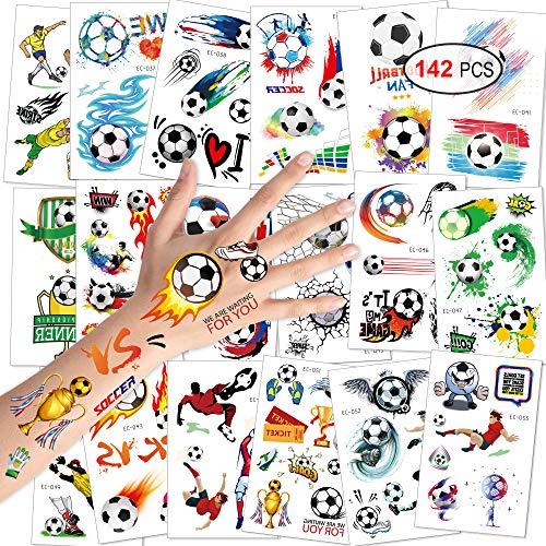 Konsait Tattoo Kinder, Fußball Tattoos Kinder, Fußball Temporäre Tattoos wasserdichte Kindertattoos Aufkleber für Junge Kindergeburtstag Mitgebsel Fußball Party, 18 Blatt